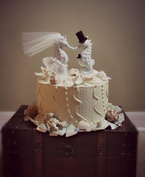 Seahorse Kissing Wedding Cake topper-Beach Themed Wedding Cake ...