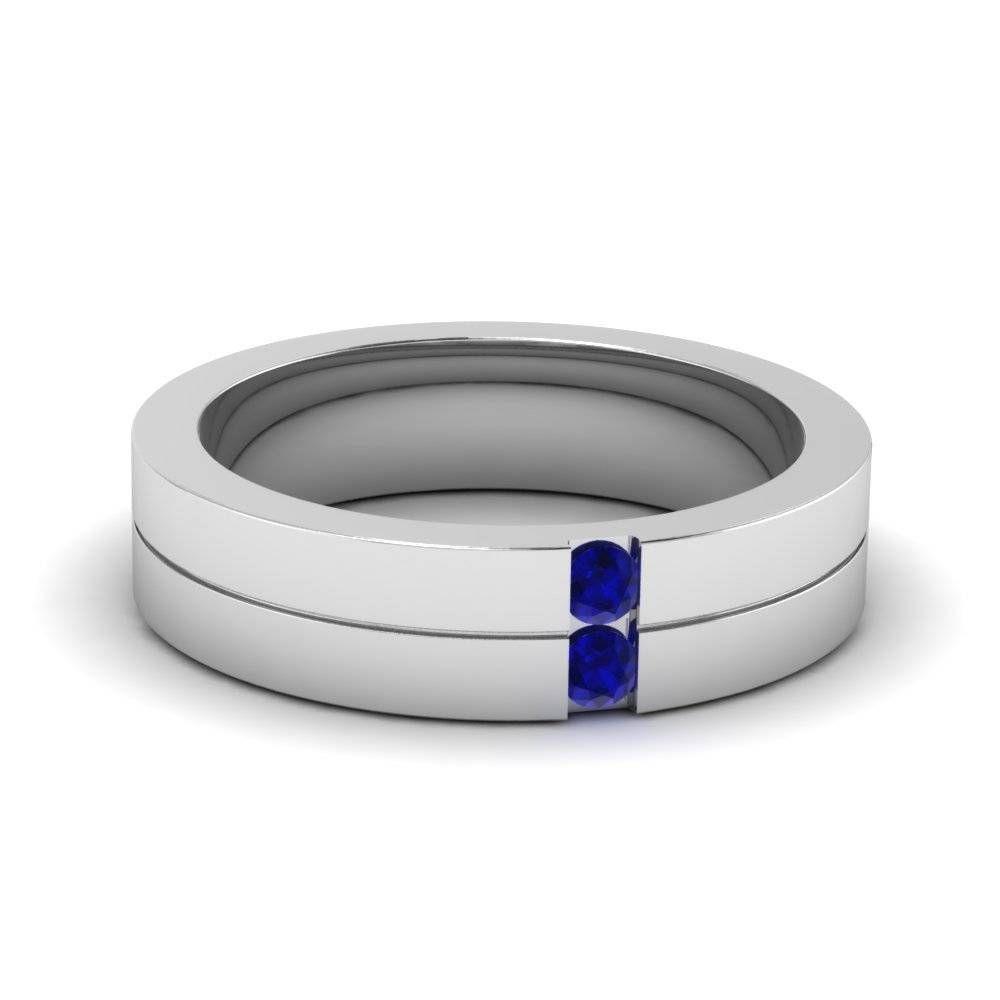 2018 Neueste Blau Saphir Manner Eheringe Verlobungsringe V