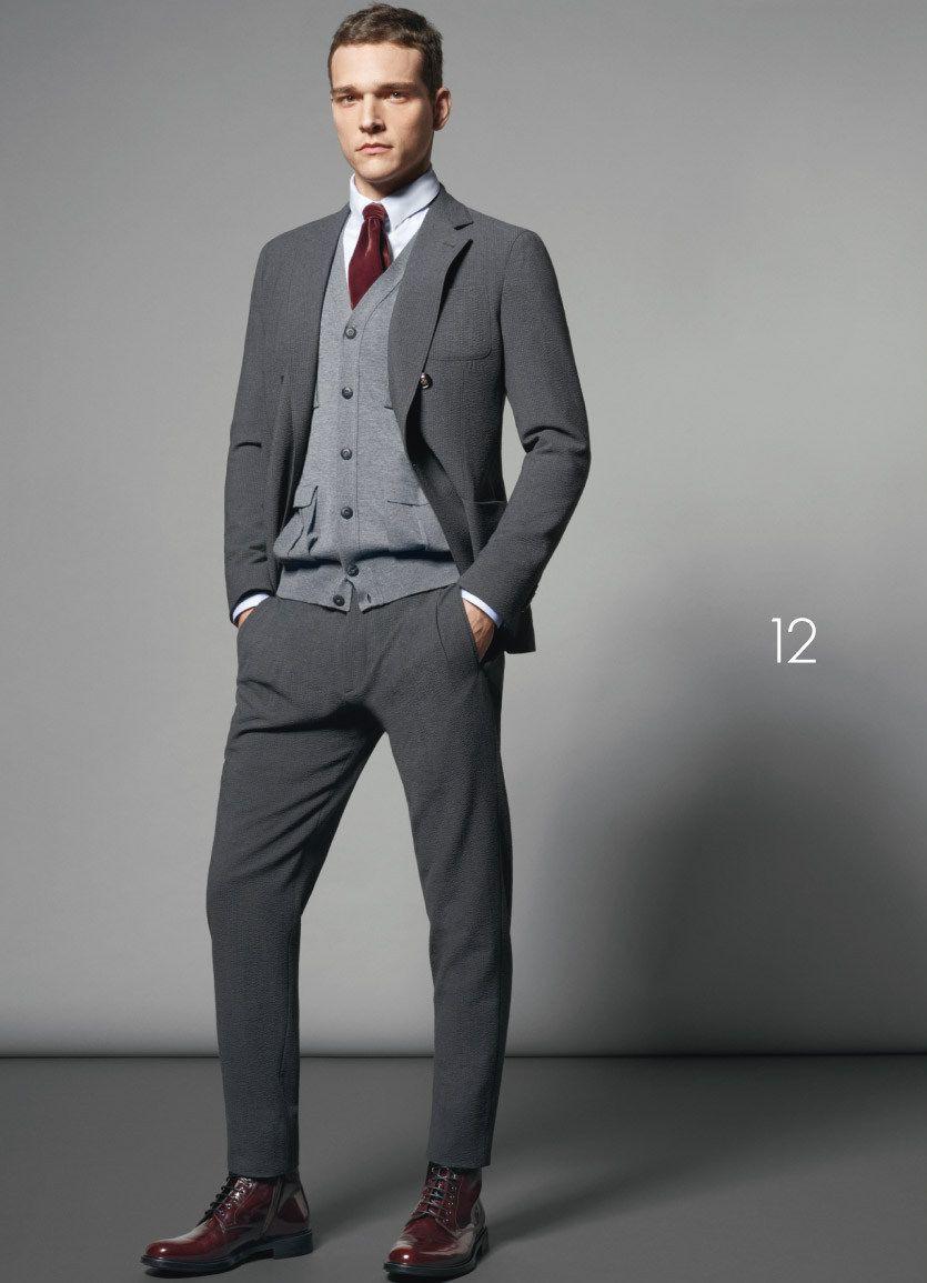 Men's Grey Wool Suit, Grey Cardigan, White Dress Shirt, Burgundy ...