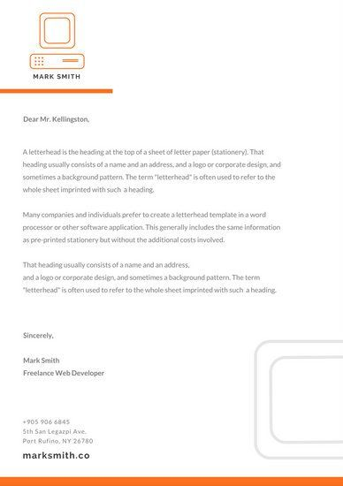 Orange Minimalist Official Letterhead Personal Brand Pinterest