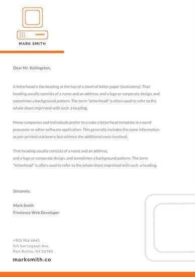Orange Minimalist Official Letterhead Personal Brand Pinterest