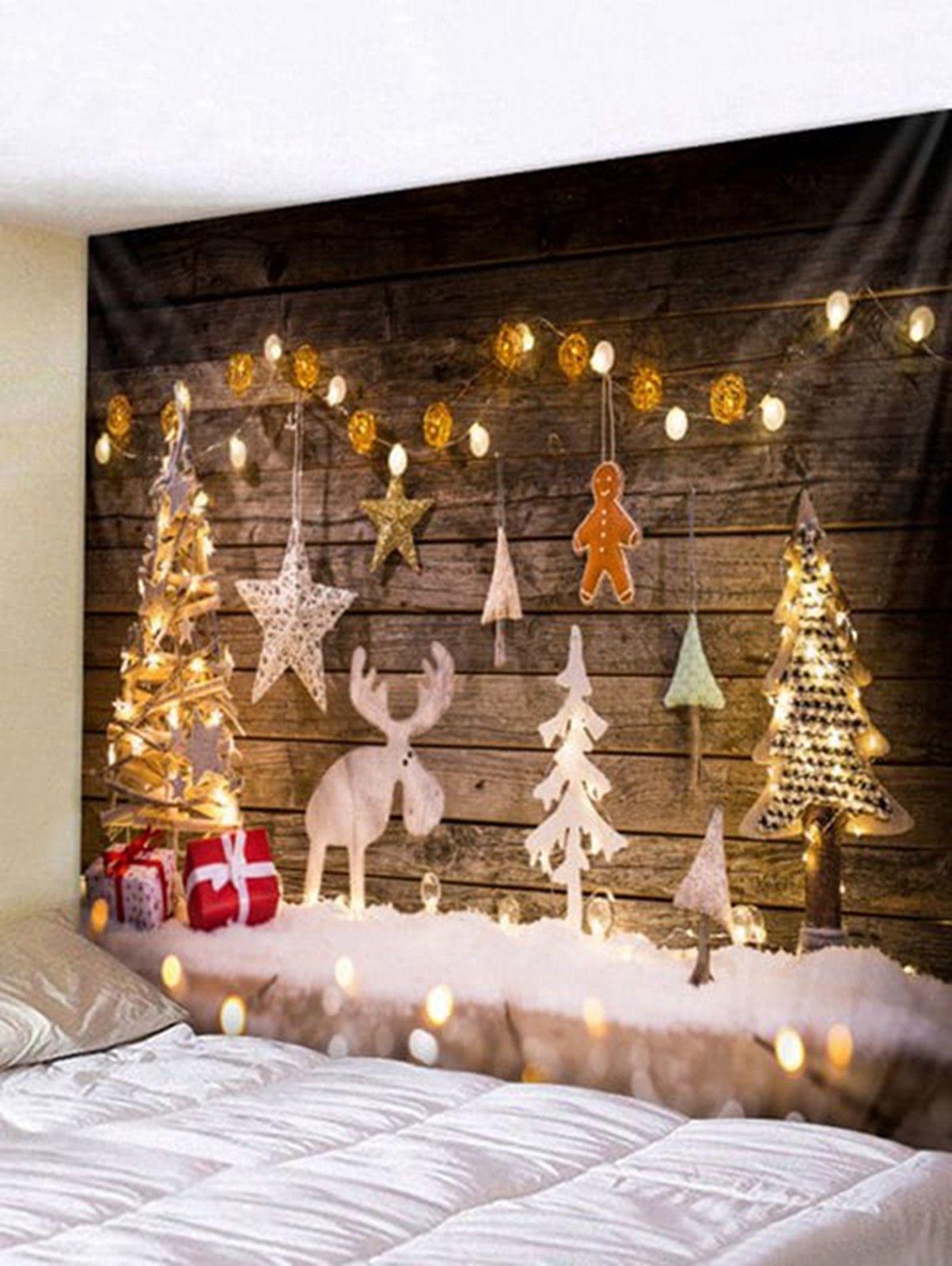 Wood Christmas Tree Elk Tapestry Xmas Wall Hanging Tapestry Art