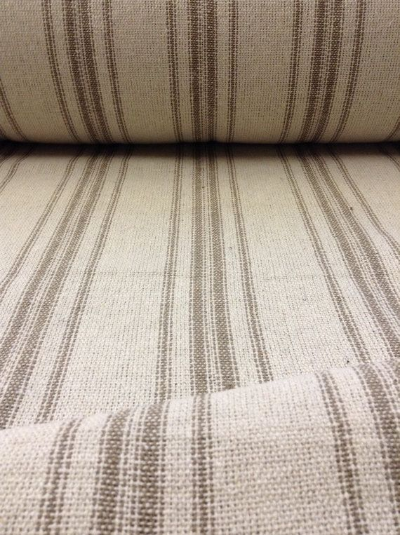 Grain Sack Fabric By The Yard Farmhouse Fabric Ticking Fabric Upholstery Fabric 12 Stripe Fabric Beige Background 54 Wide Grain Sack Fabric Farmhouse Fabric Farmhouse Style Curtains