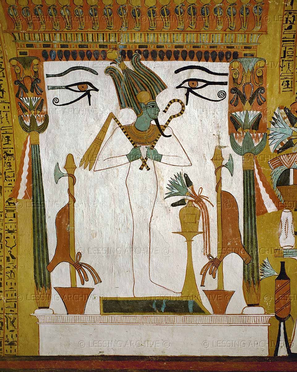 Osiris egypt wall painting stele ancient egyptian for Egyptian mural art