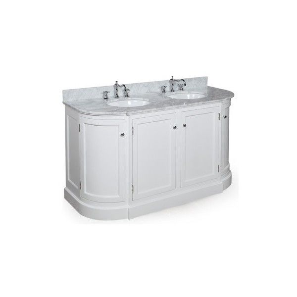 Montage 60 In Double Sink Bath Vanity Carrera White Liked On Polyvore Featuring Home Home Improv Vanity Units Bathroom Vanity Units Double Vanity Bathroom