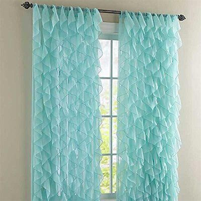Chic Sheer Voile Vertical Ruffled Tier Window Curtain Single Panel 50 x 63