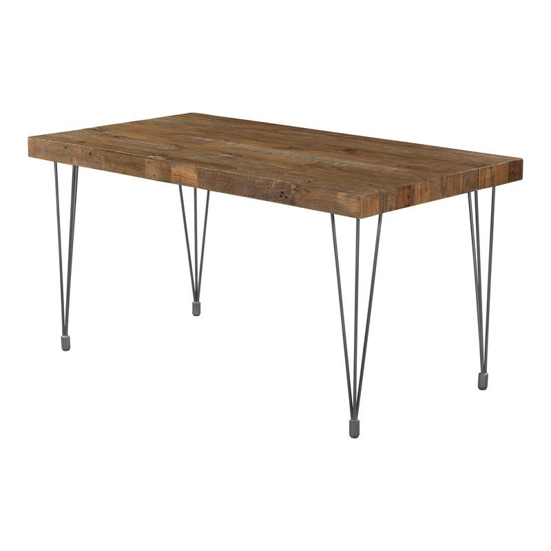 Okemah Solid Wood Dining Table Metal Base Dining Table Solid