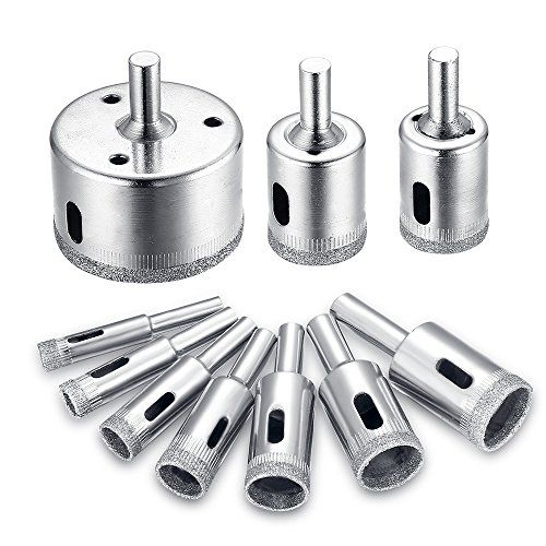 10pcs Diamond Drill Bit Set 8 50mm Glass Tile Hollow Core Extractor Remover Tools Diamond Hole Saw For Glass Ceramics Porcelain Ceramic Tile By Jelbo Glass Bottle Cutter Drill Bit Sets Glass