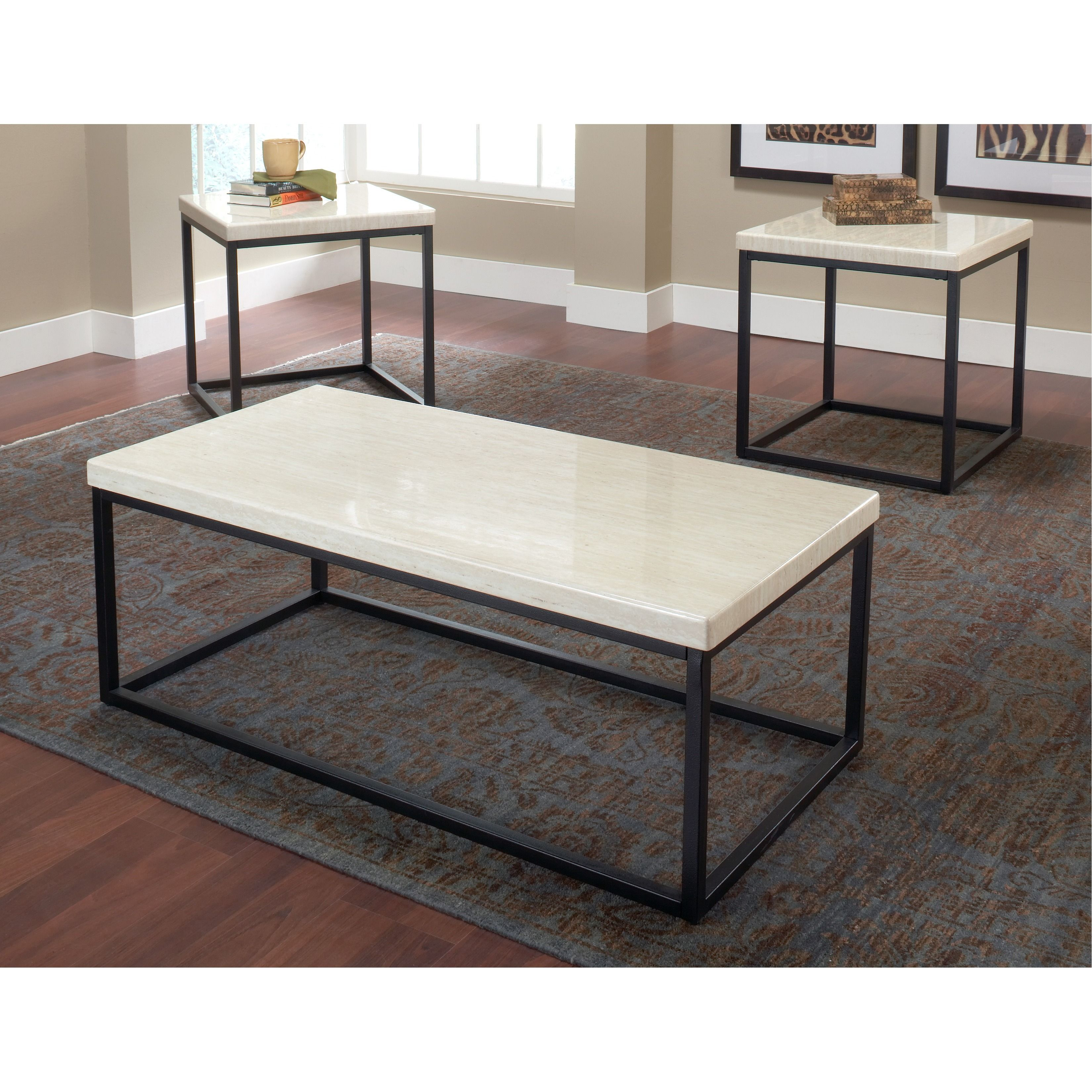 In A Clearly Clean Style, This Table Features A Multicolor Faux Marble Top  And Contrasting Black Metal Base To Give This Set Of Three A Truly Unique  Look.