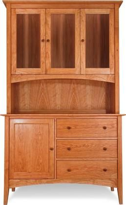 American Shaker Buffet And Hutch. Natural Cherry Wood China Cabinet.
