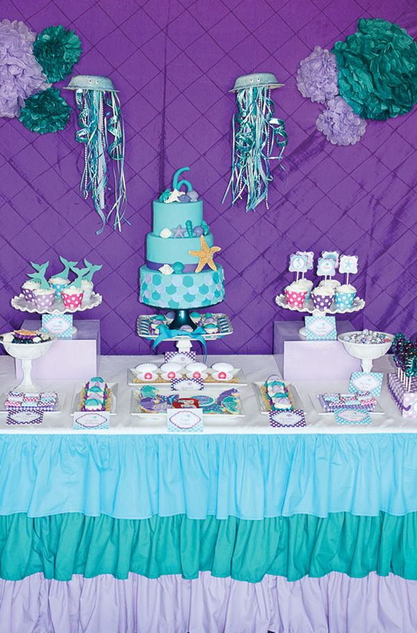 Ariel inspired ombre little mermaid party teal purple for Ariel birthday decoration ideas