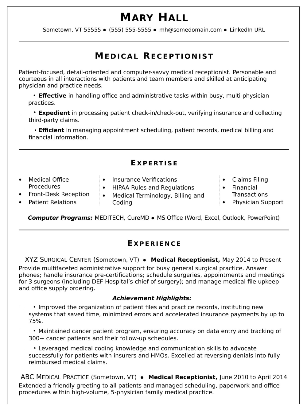 Resume For Receptionist Tips Examples Resumewritinglab
