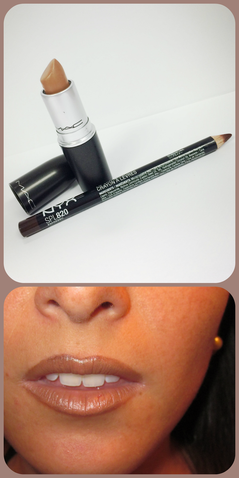 Perfect neutral lipstick and liner combo - Mac Siss and NYX lipliner in Espresso which is also a dupe for Mac Chestnut lipliner. Perfect colors for medium to dark skinned girls.  Via thebeetique.blogspot.com