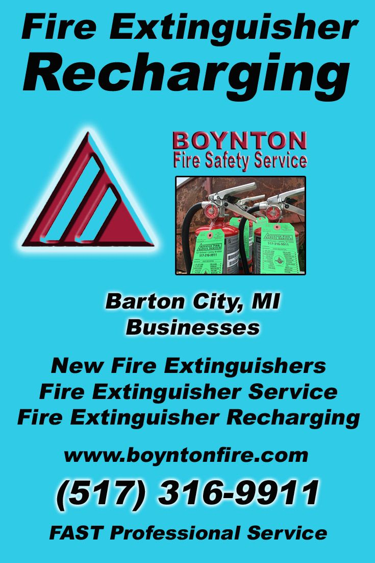 Fire Extinguisher Recharging Barton City, MI.  (517) 316-9911 Check out Boynton Fire Safety Service.. The Complete Source for Fire Protection in Michigan. Call us Today!