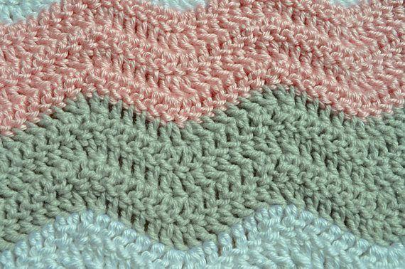 Pink,Gray and White Ripple Baby Blanket/ Chevron Baby Blanket ...