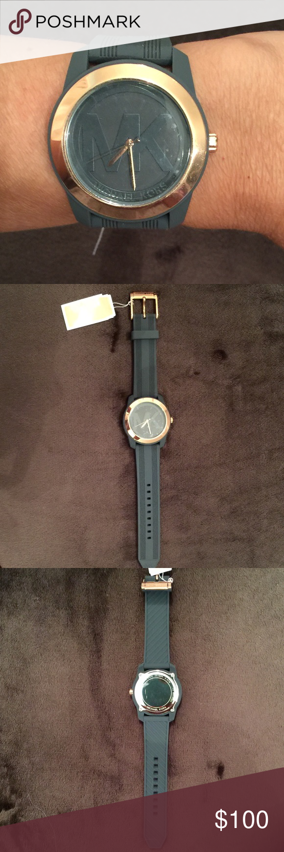 Watch,MK What a cool timepiece 😎 gray silicone with rose colored hardware.MK on the face. Box included.  FIRM🌸 Michael Kors Accessories Watches