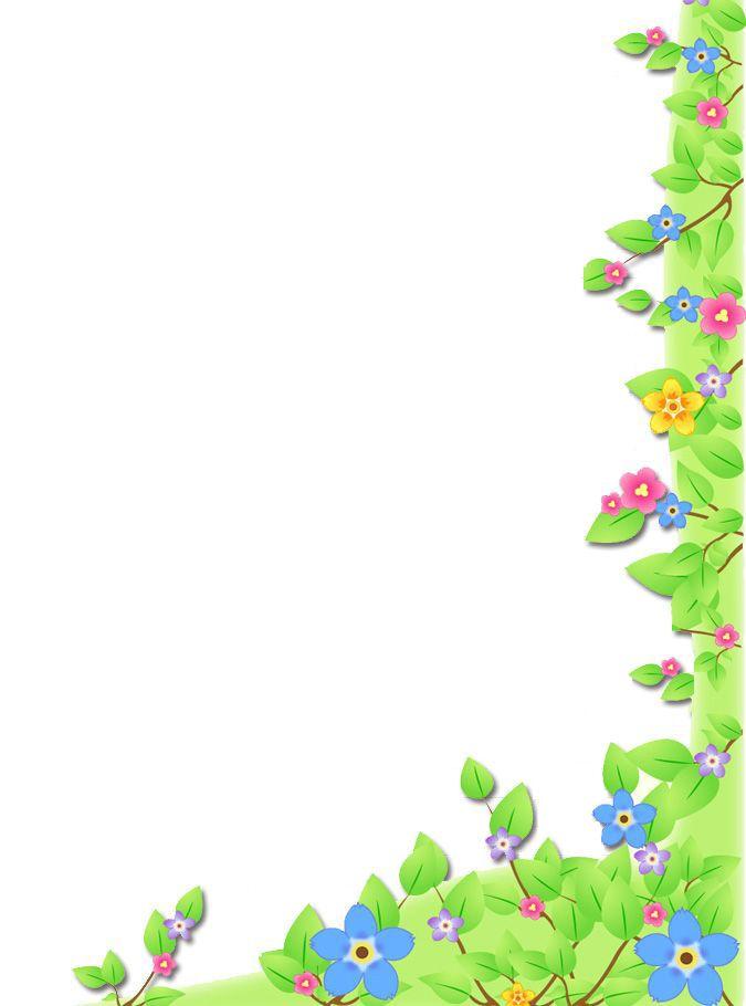 Green flowers corner one side | Flower frame, Borders and ...