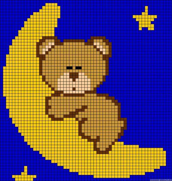 Moon Teddybear Perler Bead Pattern Tapestry Pinterest Häkeln