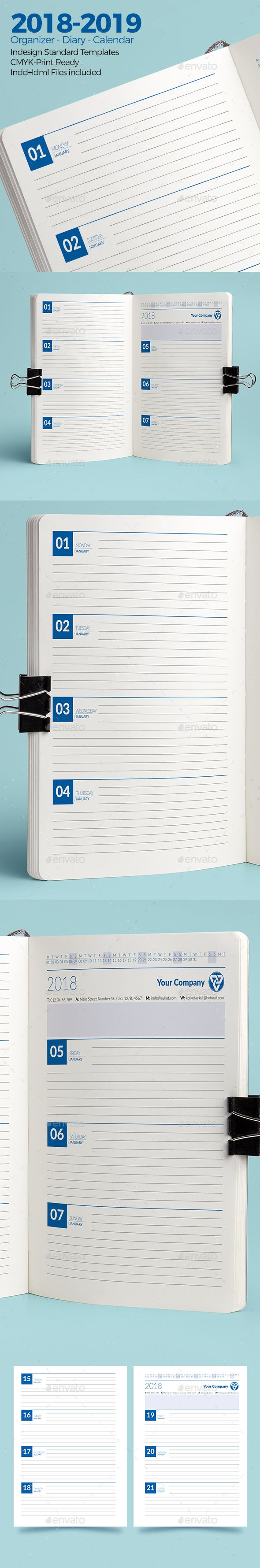 Weekly Diary Planner 2018 2019 Template Indesign Indd