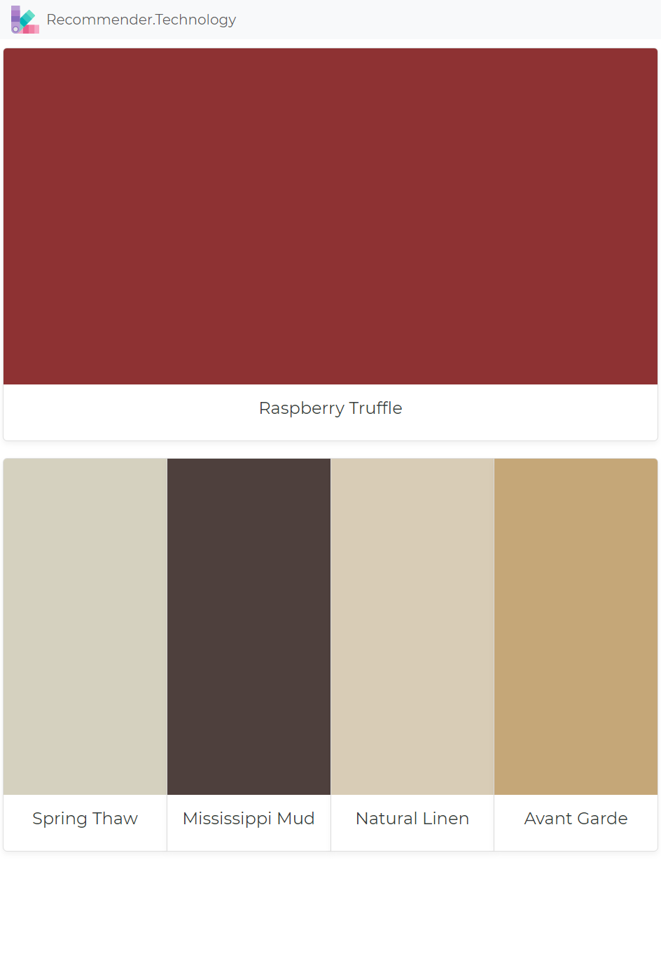 Raspberry Truffle Spring Thaw Mississippi Mud Natural Linen Avant Garde Paint Color Palettes Paint Colors Benjamin Moore Perfect Paint Color