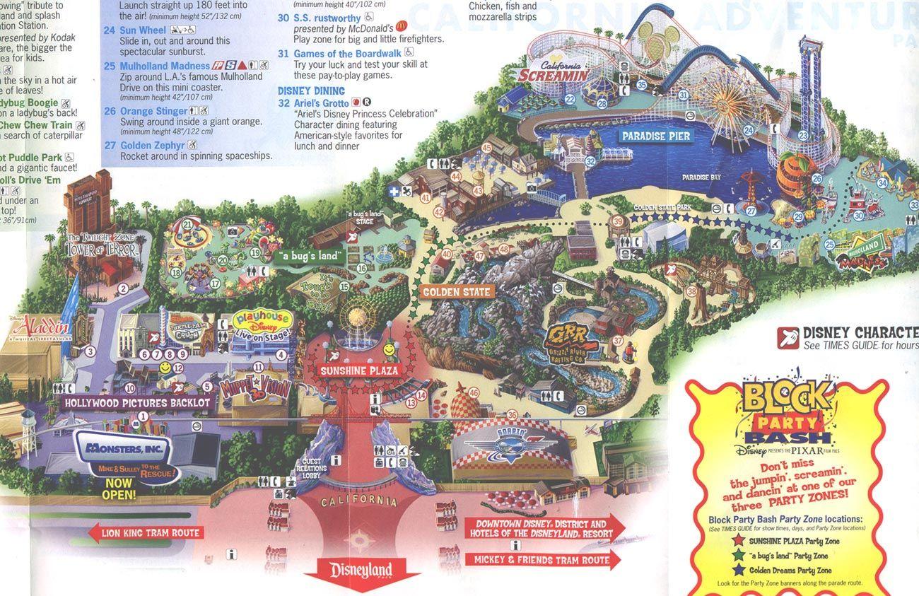2013 Disneyland Adventure Park Map Disney S California