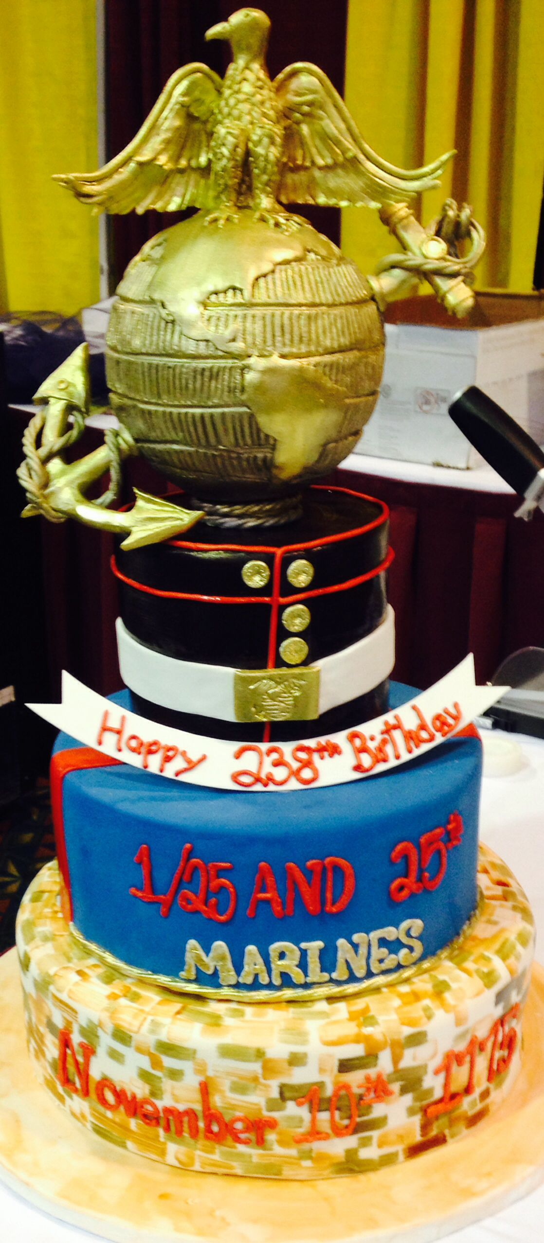 Incredible cake for Marine Corps Ball ceremony Military