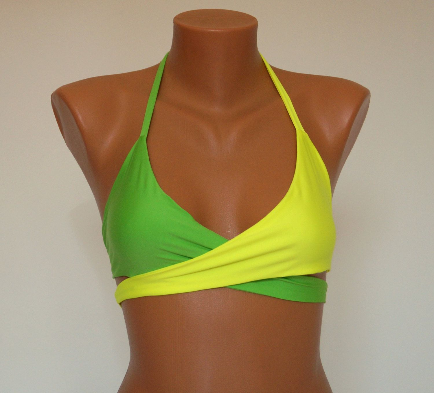 509b061a3696c Neon wrap bikini top Neon and lime green wrap around halter top Bathing  suits