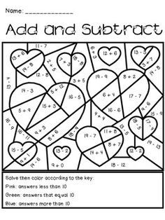 Orsett hall valentines day printable coloring pages ~ Valentine's Day Add and Subtract Activity | Fun activities ...