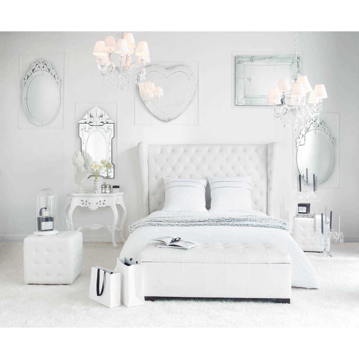 Pie de cama en blanco An. 20 cm  Maisons du Monde  Mobilier de