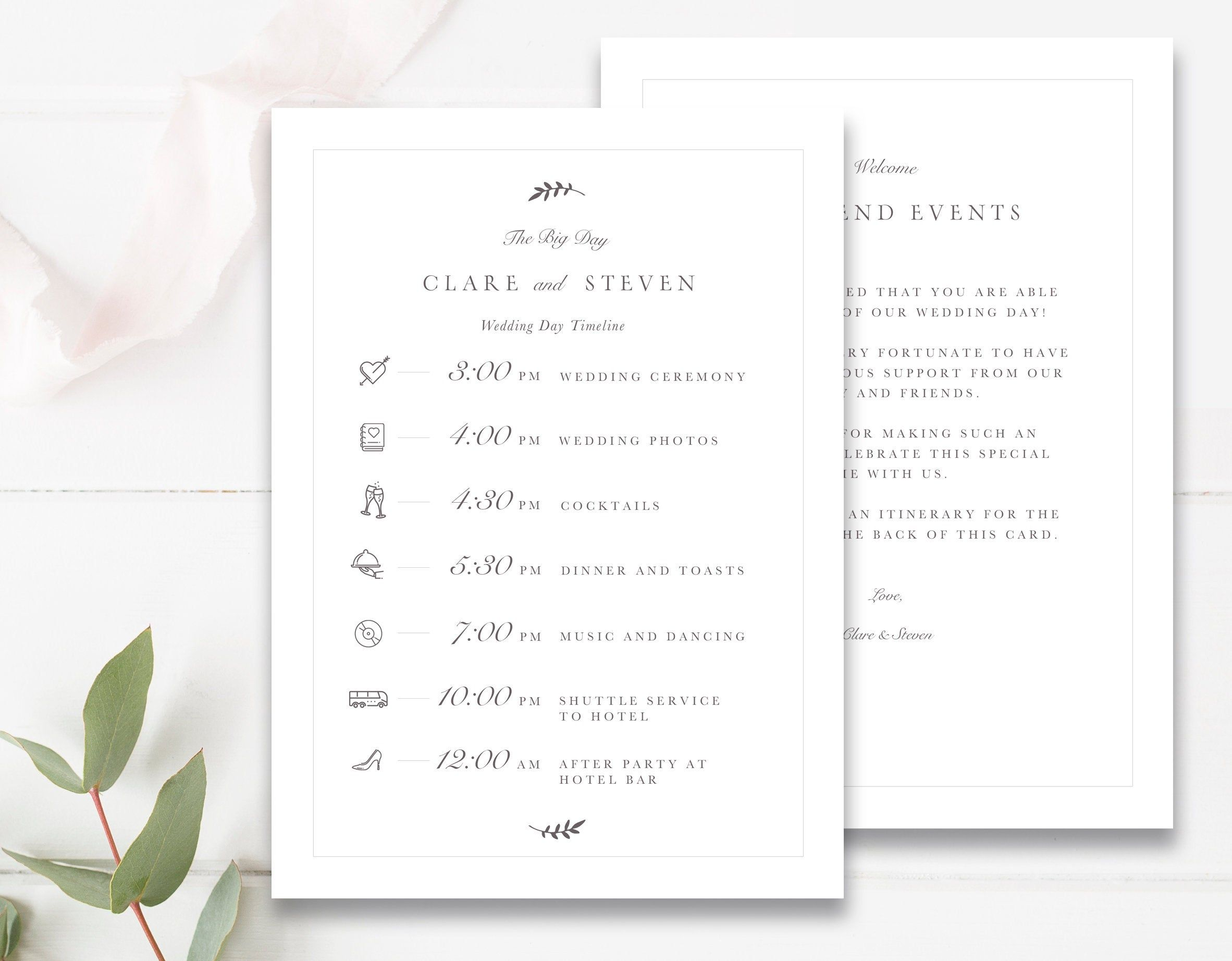 Wedding Timeline Editable Timeline With Icons Printable Etsy Wedding Timeline Wedding Schedule Wedding Timeline Template