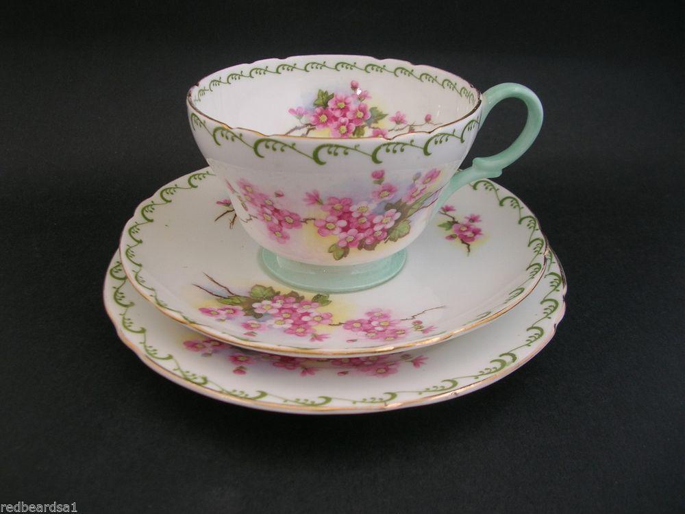 Shelley Rare Pink Blossoms Bone China Trio Cup Saucer Plate Henley Shape 13523 Shelley Tea