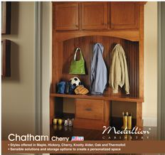 Medallion Chatham Cherry Cabinetry From Menards Front Hall Closet Menards Cabinetry