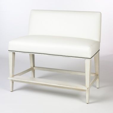 Counter Bench $1175.00 White Vinyl W Nailhead Trim N Light Wood Legs