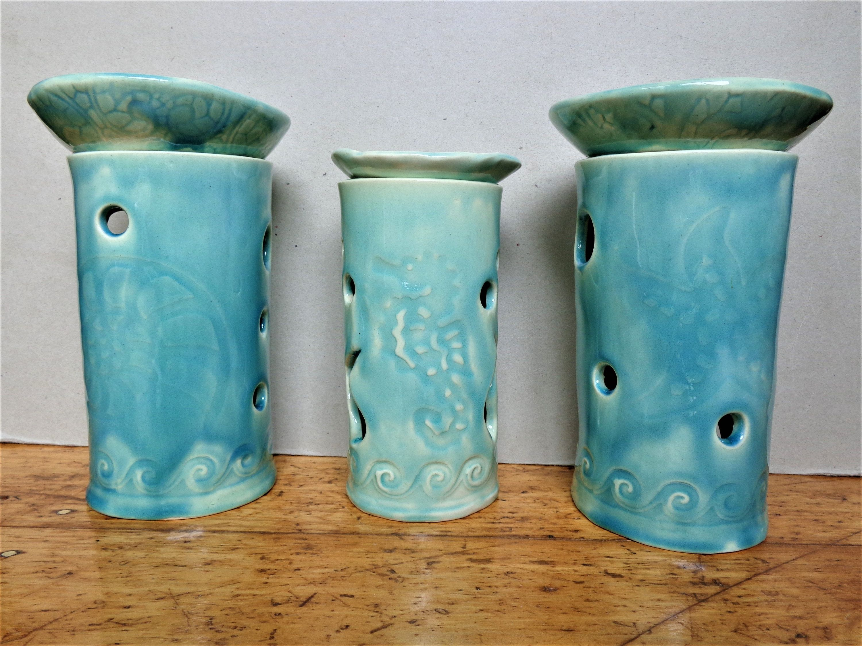 Nautilus Seahorse Starfish Ceramic Essential Oil Burner Turquoise Sealife Coastal Beach Sealife Pottery Aromatic Diffuser Lantern Luminary Essential Oil Burner Ceramics Pottery