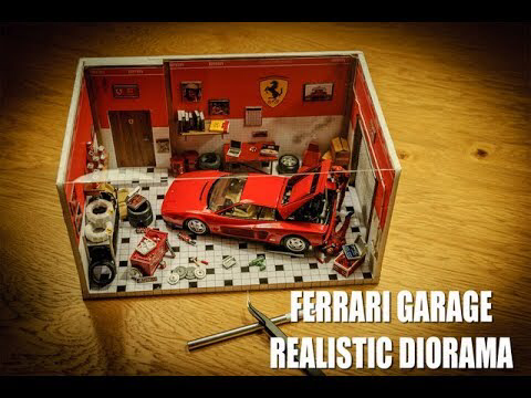 Realistic Diorama Ferrari Garage In 1 24 Scale Youtube Diorama Ferrari Car Workshop
