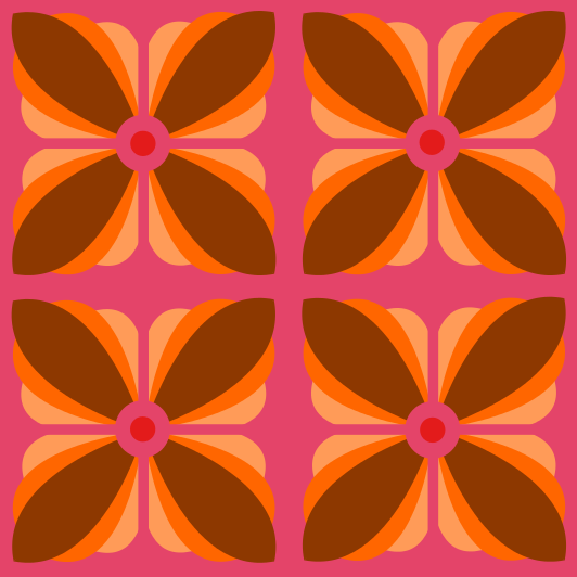 Blumen retro stoff von fummelhummel auf kacheln tapete orient orientalisch orange pink - Tapete orientalisch blau ...