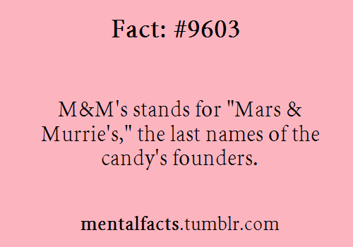 """Fact#  9603:  M&M's stands for """"Mars & Murrie's,"""" the last names of the candy's founders."""