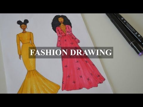 FASHION DRAWING | ATTEMPT SEQUIN MERMAID DRESS - YouTube