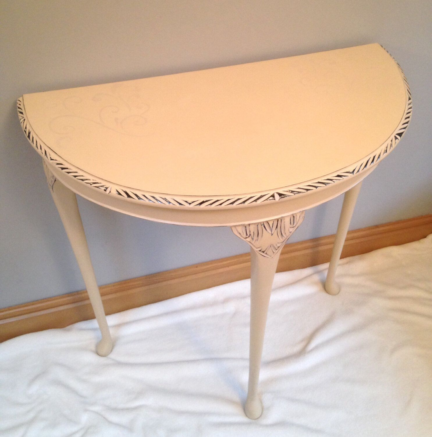 Shabby Chic Half Moon Console/hall Table In Annie Sloan Old Ochre By  Magicmiridesigns On