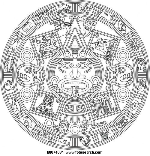 Clipart Of Mayan Calendar Line Illustration K8074681 Search Clip