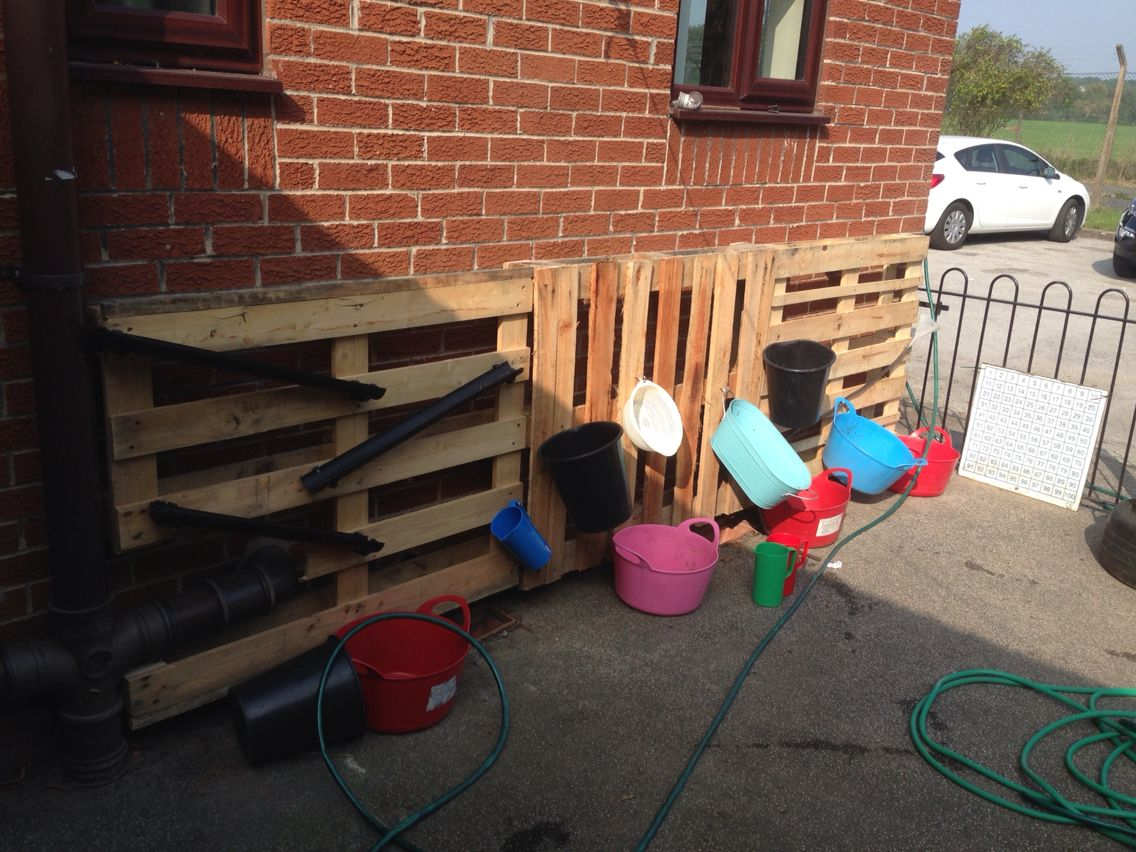 Early Years Water Wall All Up Cycled Pallets Hose Drain Pipes Bikers Funnels Hours Of Learning Through Water Walls Outdoor Nursery Eyfs Outdoor Area