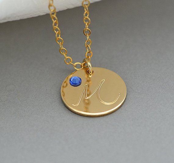 bdc6e2b79c70f Initial Birthstone Necklace, Custom Initial Necklace, Letter Charm ...