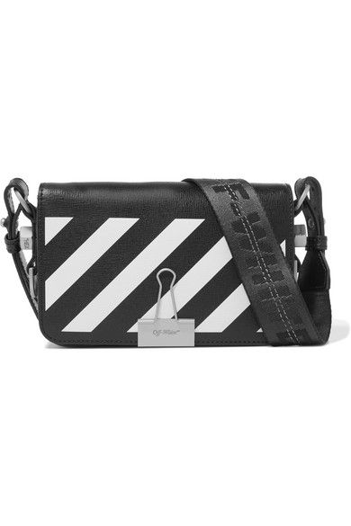 bfce7b9d6b2dae Off-White | Mini striped textured-leather shoulder bag | NET-A-PORTER.COM