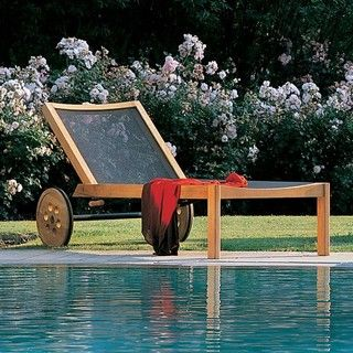 Wood Patio Emu Teak Chaise Lounge 1 224 00 Casters Are A Must On Pool Furniture For True Sunbathers