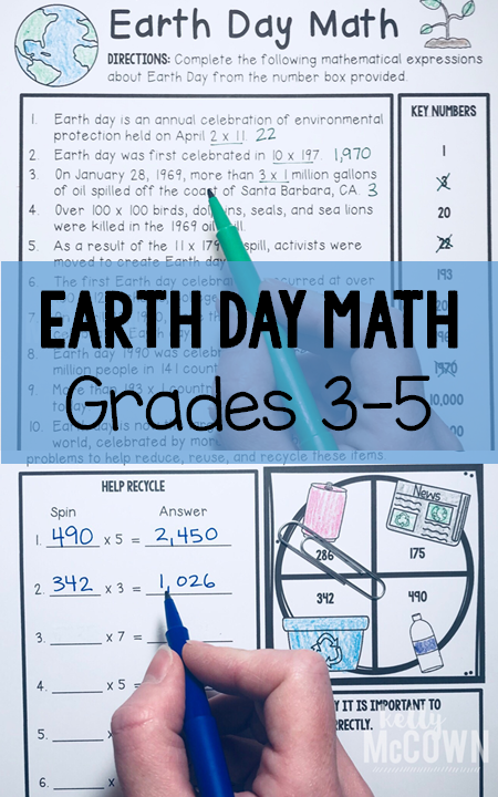 Earth Day Elementary Math Activities for Grades 3, 4, 5. Engage your ...