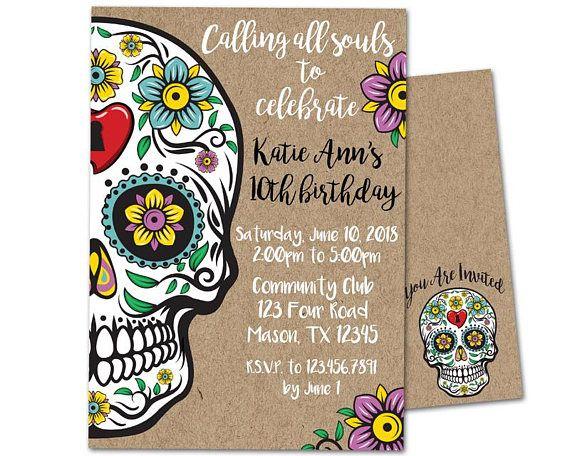 Sugar Skull Birthday Invitation Sugar Skull Invitations Kraft