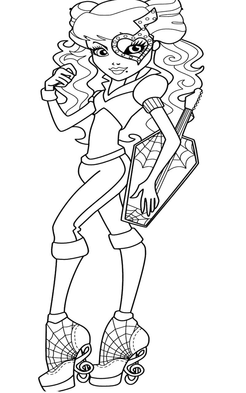 Monster High Operetta Bring Guitar Coloring Page Monster