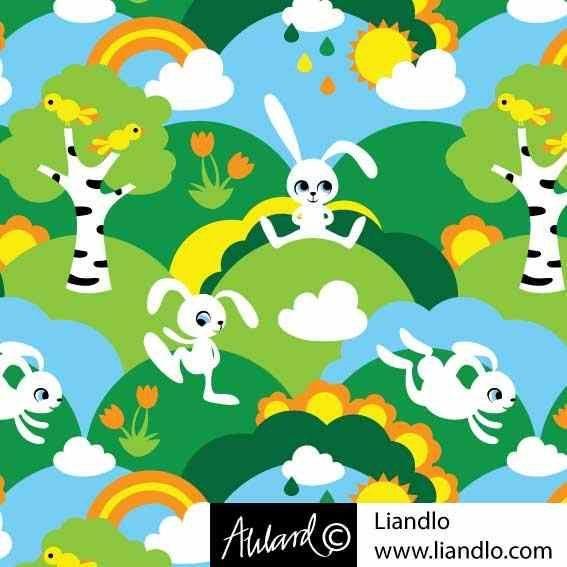 LIANDLO VORSCHAU SCANDINAVISCHES DESIGN Baumwolljersey Little white rabbit  Hase Vogel Blumen  Johanna Ahlard