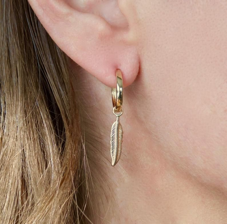 14k Gold Feather Earrings 14k Solid Gold Huggie Hoops Pair Etsy Gold Feather Earrings Feather Earrings Solid Gold Stud Earrings