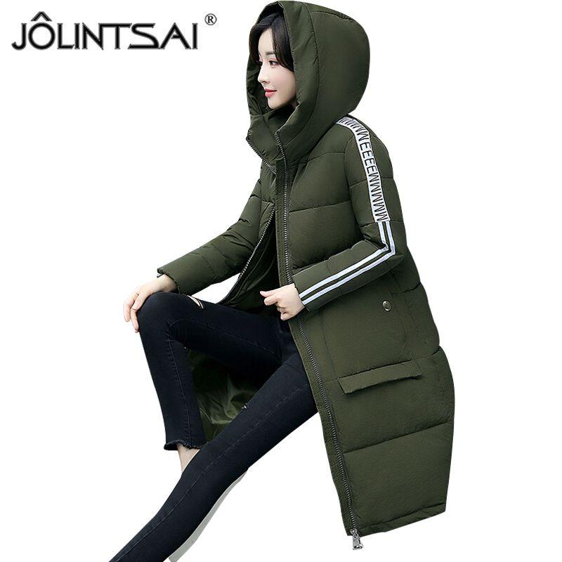 9f4d20e53c0d JOLINTSAI Long Hooded Women's Winter Jackets 2018 New Fashion Long Sleeve  Cotton Parkas Warm Winter Coats Women Large Size-in Parkas from Women's  Clothing ...